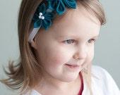 SALE Girl headband - Aquamarine Girl Flower headband