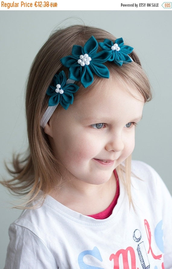 SALE Girl headband - Aquamarine Girl Flower headband