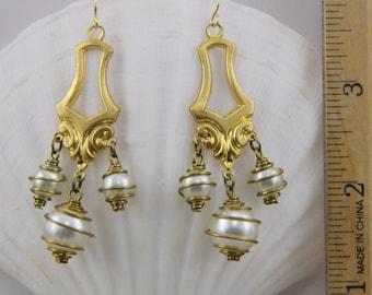 Handmade Dangle Earrings Pearl  And Brass Drops Glass Pearls Gold Hooks