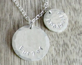 Personalized disc necklace with names custom necklace name necklace childrens names jewelry handstamped necklace custom necklace sterling