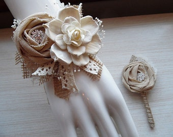 Will ship in 4 week ~~ Wrist Corsage and/or Boutonniere, Sola Flowers, Tan Rolled Cotton Roses, Rhinestones, Rustic Country Wedding.