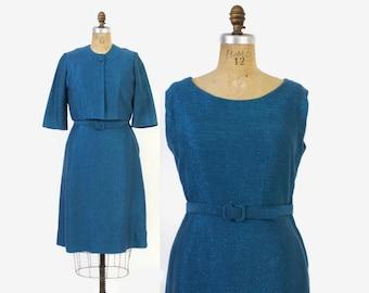 Vintage 60s DRESS Suit / 1960s Metallc Blue Lurex Knit Wiggle Dress & Cropped Bolero Jacket Set M
