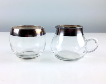 Silver Rim Cream and Sugar / Mad Men Style Roly Poly Glass / Dorothy Thorpe Glass Creamer and Sugar Bowl
