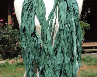 Beautiful And Soft Greens Lavender Some Blues Colored Sari Ribbon Yarn 55-60 Yards