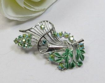 Summer Sale Vintage Pin Brooch, 1950s Green AB Crystal Rhinestone Enamel Silvertone Swish Brooch Pin, Green Rhinestone Pretty Sparkling Broo
