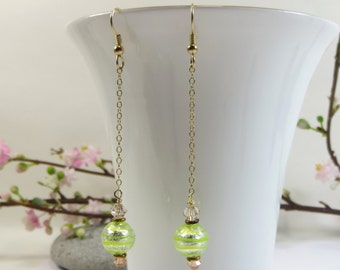 Murano Venetian Peppermint Green Stripe Chain Earrings, Silverfoil Murano Glass Beads Earrings with Swarovski Crystal and 14KT Goldfill