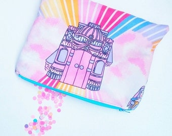 SheRa castle vintage style cosmetic or pencil bag planner girl pastel pink