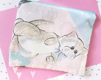 Pound Puppies vintage style zipper closure pencil or make-up bag upcycled by felice happy designs