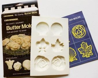 Irvinware Butter Chocolate Mold Assorted Fleur de Lis, Fan Shell, Rose, Maple Leaf Vintage 1981