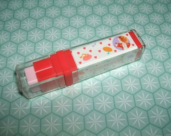 Rare Vintage 1980s Kutsuwa Beautiful Sunday Cased Stick eraser rubber gomme gommine - Excellent Vintage Condition