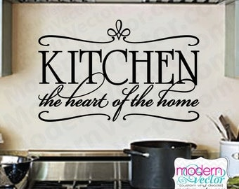 Kitchen the Heart of the Home Quote Vinyl Wall Decal Lettering Sticker Home Design Kitchen decal breakfast nook
