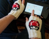 Mens Knit Super Mario Bros. Inspired Mushroom Fingerless Gloves -  Size Large Men's Mittens - Texting Gloves - Wrist Warmers