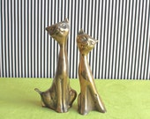 Mid Century Modern set of two Cats Brass Figurines Paperweight