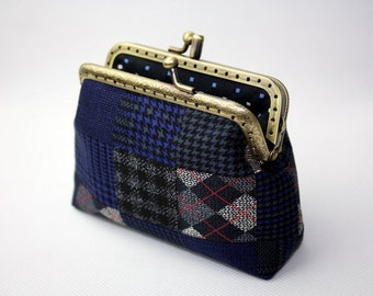 Clutch Purse Indigo Blue (Metal Frame, Double Pockets, Patchwork)