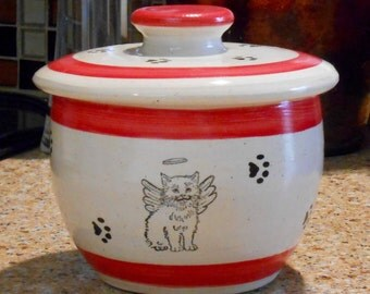 Angel Kitty in Red - Kitty Treat Jar (Small)