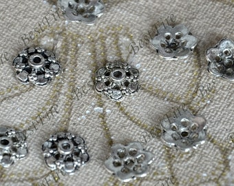 20 pcs of Antique Silver metal leaf flower bead cups 14 mm,beadcap findings,beads,findings beads