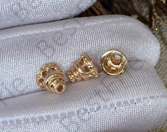 4 pcs 8x8mm 24K Gold plated Brass Flower Bead Cap, Brass Bead Cap, Charms Jewelry Findings, Simple Bead Cap