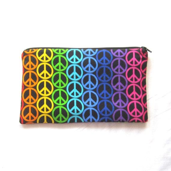 Peace Sign Zipper Pouch / Pencil Case / Make Up Bag / Gadget Sackget Pouch