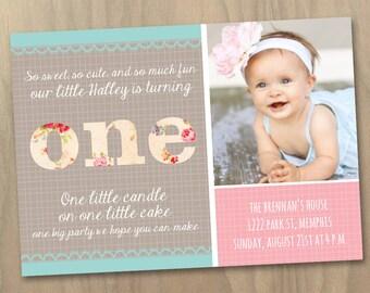 baby mädchen und jungen zwillinge zunächst 1. geburtstag, Einladung