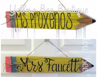 Teacher Name Plate - Teacher Sign - Pencil Sign - Customizable Personalized - Classroom Decoration