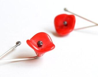 Poppy Earrings, Red Poppy Earrings, Red Flower Earrings