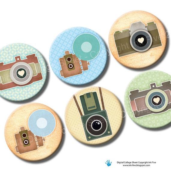 Vintage Photo Cameras 1 inch & 1.313 circles retro bottle cap printable images. Digital collage sheet. Old school camera digital download