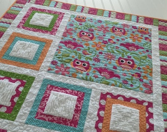 Baby Quilt Drag Around Quilt for Baby Small Quilt Toddler Owl Pink, Orange, Green Turquoise