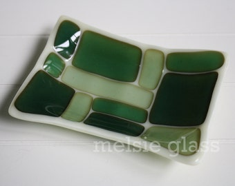 Sea Glass glass soap dish, geometric beachy design on cream glass base
