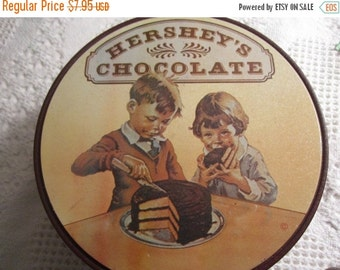 20% OFF SALE Vintage HERSHEY Chocolate Tin Container 1960s Candy Brown Americana Advertising