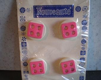 Vintage Unused Nouveaute Buttons - Set Of Four - Pink