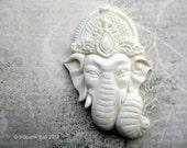 Reserved - Ganesha in Balinese Headdress Carved Bone Cabochon 62mm