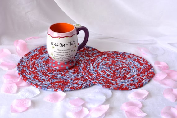 Red Floral Trivets, 2 Handmade Fabric Hot Pads, 2 Red Mug Rugs,  Lovely Kitchen Place Mats, Table Toppers, Potholders