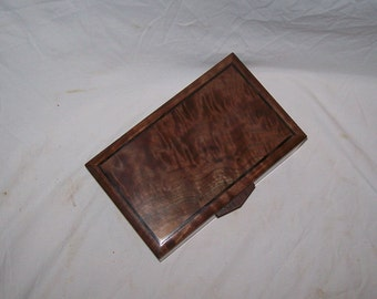 "Dynamite Walnut Box with Fancy Walnut inlayed top a  keepsake box 10 1/2""x6 1/2""x4"" Handcrafted from musical grade wood"