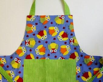 Kid's Apron - Owl Print Child's Adjustable Butcher Apron: Sizes 3-8 (approximately)