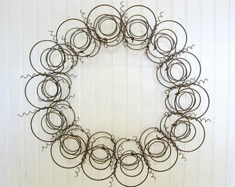 Simple Year Round Plain Handmade Primitive Old Bed Springs Wreath