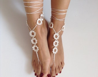 ivory, Barefoot Sandals,handmade, bead, barefoot sandles, wedding, Bridal Sandals, Bridal Jewelry, shoes, Beach, READY TO SHIP