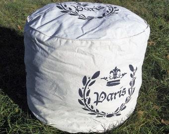 Slouchy Pouf - Ottoman -Hassock -  Paris - Crown - Laurel Wreath - Handmade and Hand Stenciled - Canvas
