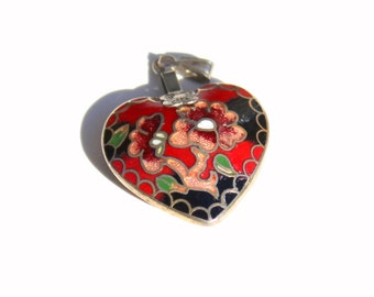 Cloisonne Heart- 1980's Fashion- Enamel Pendant- Heart Pendant- Cloisonne Necklace- Floral Heart- Cloisonne  Jewelry- Heart Charm- Red Black