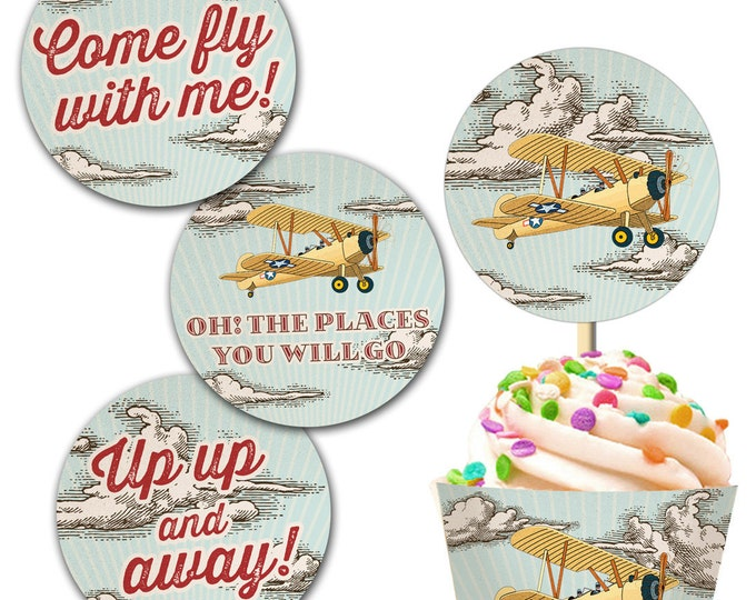 Vintage Retro Airplane Cupcake Topper and Cupcake Wrap, Instant Download