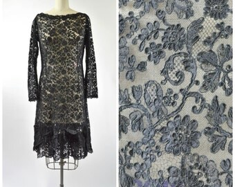 1960s Black Lace Wiggle Dress Size Medium Beautiful Chantilly Lace Dress with Lace Rosettes at Hem Long Sleeves Boat Neck