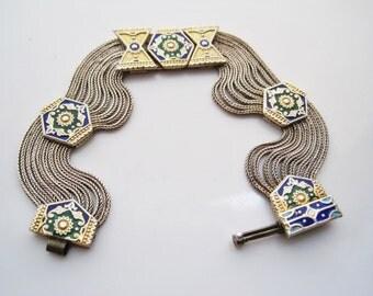 Vintage Turkish Bracelet, Sterling Silver and Enamel,  Multi Chain