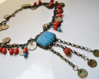 Antique Kurdish Necklace with Coins and Beads from Late Ottoman Era, Folk Jewelry