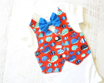 READY TO SHIP Size 9 Months Short Sleeve Little Fishy Tuxedo Bodysuit with Removable Bow Tie