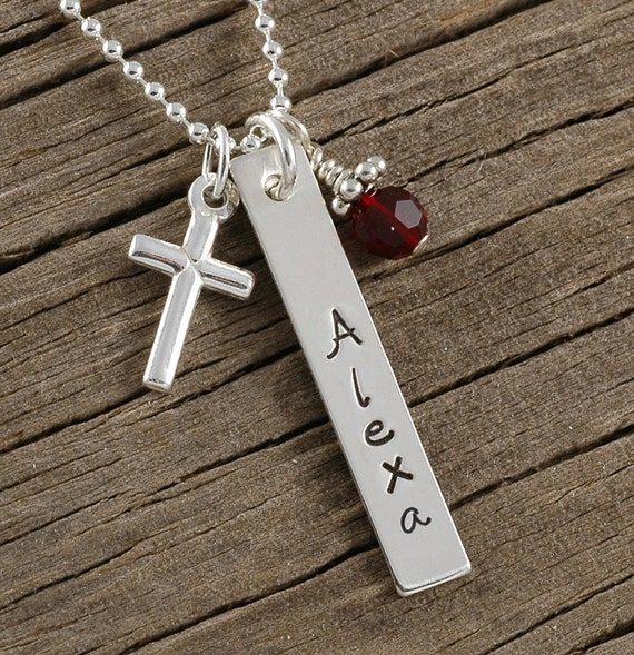 Confirmation Necklace, Cross with personalized name and birthstone  - Sterling Silver rectangle - first communion - baptism
