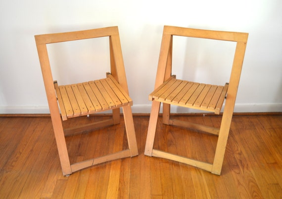 Mid Century Modern Wooden Folding Chairs Made In Yugoslavia