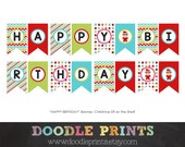 Happy Birthday Banner - Elf Christmas Party, Birthday Party, Christmas party - Instant Download Printable Banner - Holidays DIY Party