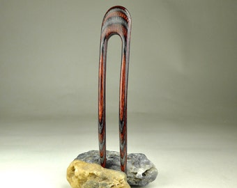 Two Prong Hair Fork made from Charcoal Ruby DymondWood-  Very durable. Water resistant.