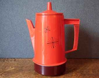 Vintage Regal Poly Perc Coffee Pot Percolator Poppy Orange