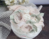 Newborn Photo Prop, Newborn Headband, Newborn Tieback, Newborn Flower Crown, Newborn Halo, Organic Photography Props, Cream, Pastel, Spring
