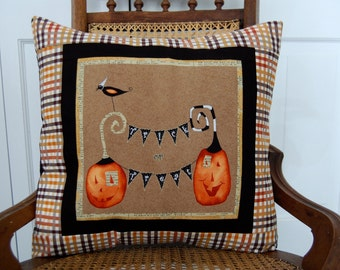 Halloween Pillow, Cheeky Pumpkins, Trick or Treat, Pumpkin, Black Cat